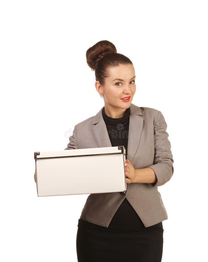Portret ładna kobieta z pudełkiem obrazy stock