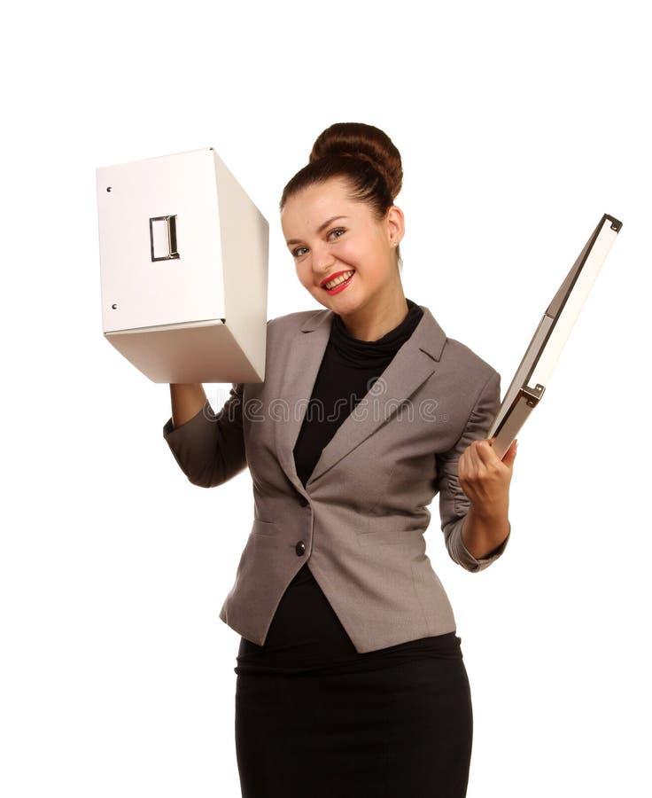 Portret ładna kobieta z pudełkiem fotografia stock