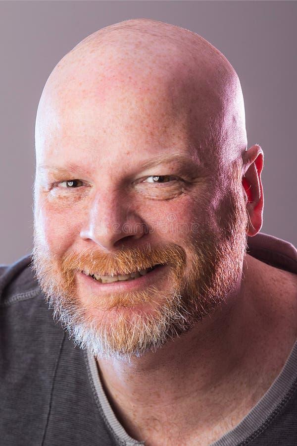 Portret łysy mężczyzna z brodą fotografia royalty free