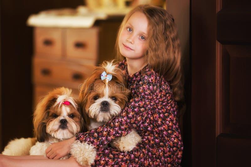Portret śliczna mała dziewczynka z dwa psami obraz royalty free