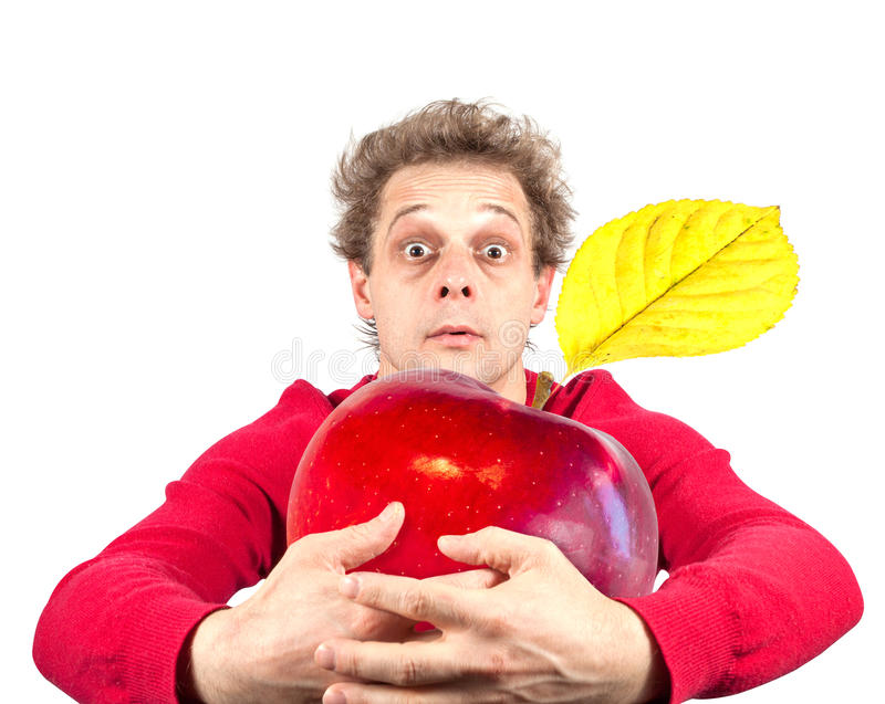 Portret śmieszny mężczyzna z jabłkiem zdjęcie royalty free