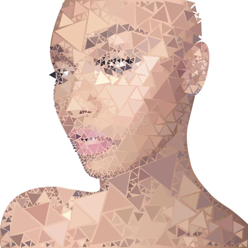 Portret śniada dziewczyna z różową skórą, długość, z makijażem, przedmiot składa się identycznych kwadraty różny ilustracji