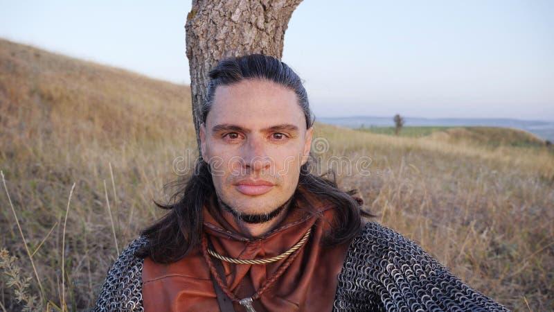 Portret Średniowieczny samiec Viking wojownik fotografia stock