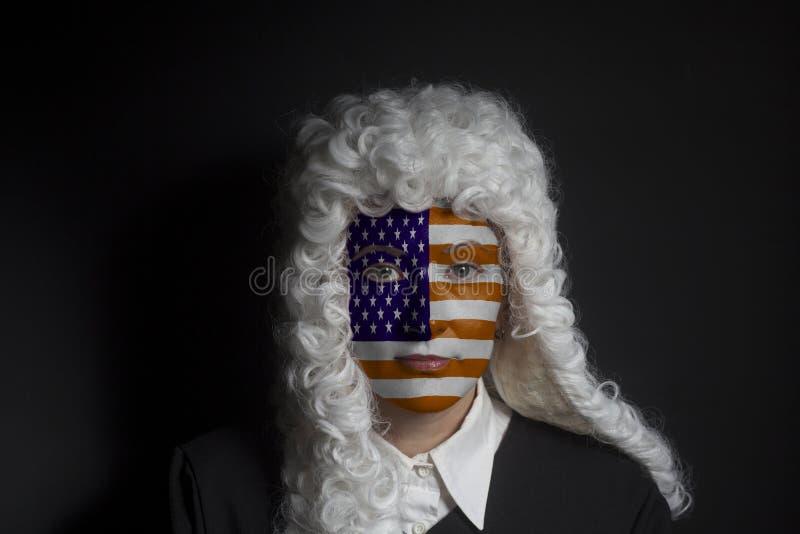 Portret żeński amerykański prawnik z malującą usa flaga obrazy royalty free