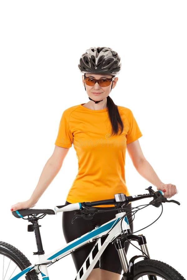 Portret żeński cyklista ubierał w sportswear fotografia stock