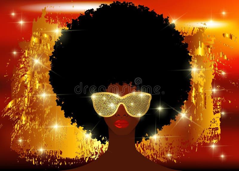 Portret Afrykańskie kobiety, ciemnej skóry żeńska twarz z pięknym tradycyjnym czarni włosy afro, połyskują kolorowego błyszcząceg royalty ilustracja