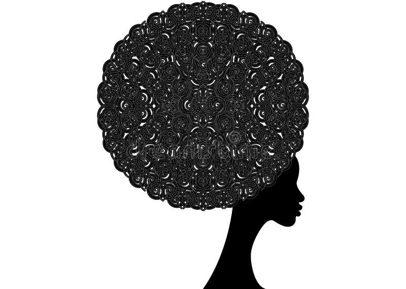 Portret Afrykańskie kobiety, ciemnej skóry żeńska twarz z włosianym afro i etnicznym stylu pojęciem tradycyjnym kędzierzawego, od royalty ilustracja