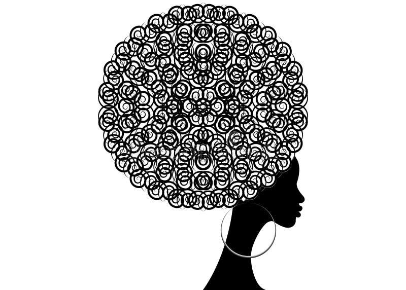 Portret Afrykańskie kobiety, ciemnej skóry żeńska twarz z włosianymi afro i etnicznymi tradycyjnymi kolczykami na odosobnionym, w royalty ilustracja