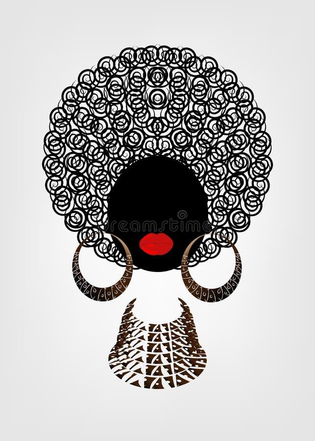 Portret Afrykańskie kobiety, ciemnej skóry żeńska twarz z włosianymi tradycyjnymi kolczykami i kolią na odosobnionym afro i etnic royalty ilustracja