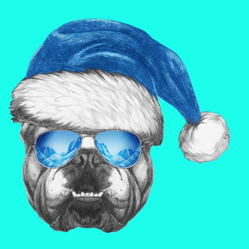 Portret Angielski buldog z Santa okularami przeciwsłonecznymi i kapeluszem ilustracji