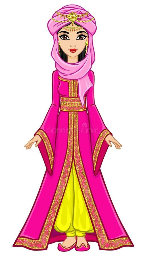 Portret animaci Arabski princess w antycznym kostiumu ilustracji