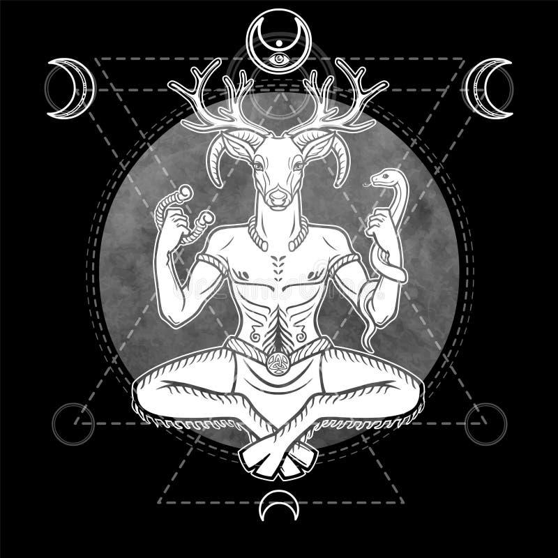 Portret antyczny poganin uzbrajać w rogi bóg, męski rogacz, duch drewno ilustracja wektor