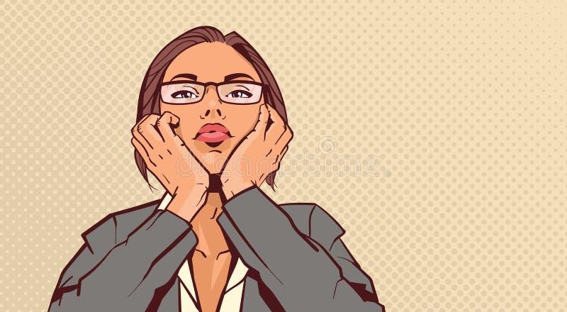 Portret Atrakcyjna Biznesowej kobiety mienia głowa Na rękach Nad wystrzał sztuki Pinup tła Retro stylem royalty ilustracja