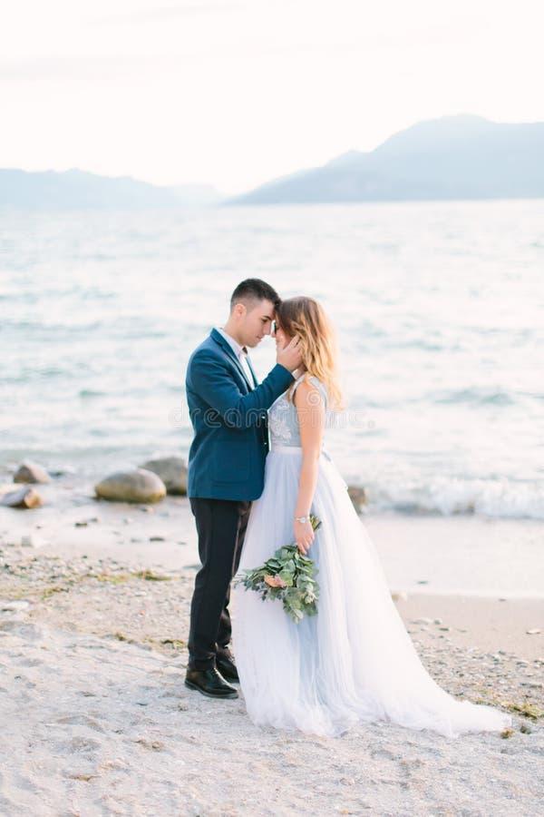 Portret atrakcyjna fornala i panny młodej pozycja na naturze blisko Garda jeziora Szczęśliwy i radosny moment Romantyczna para ne fotografia royalty free