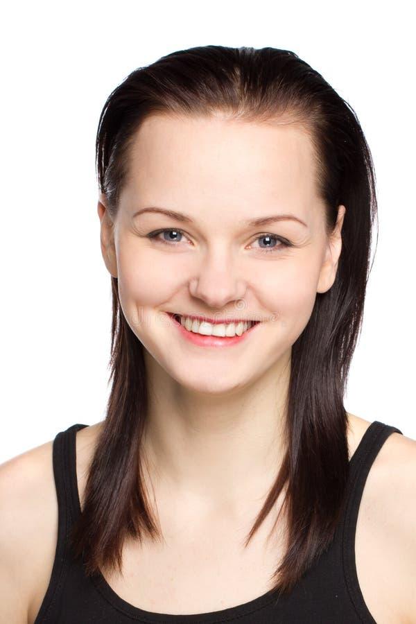 Portret atrakcyjna nastoletnia dziewczyna w czerni sukni fotografia stock