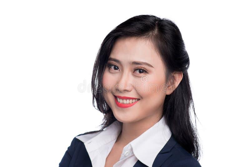 Portret atrakcyjny młody bizneswoman na bielu zdjęcie royalty free