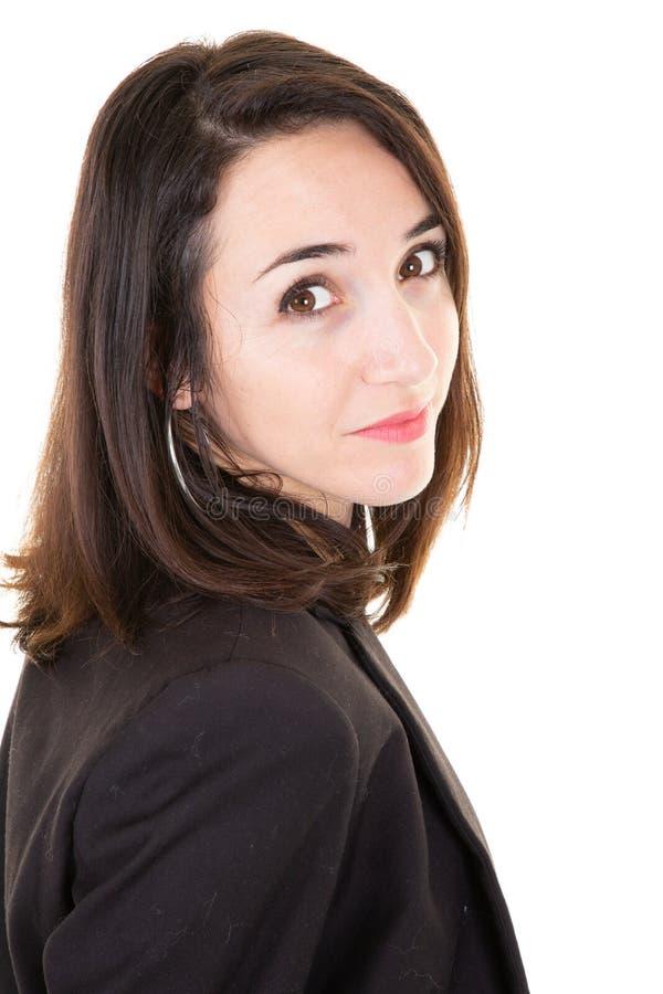 Portret attracive młody bizneswoman patrzeje kamerę odizolowywał białego tło fotografia stock