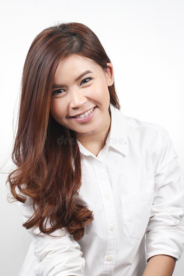Portret Azjatycki młodej kobiety ono uśmiecha się obrazy royalty free