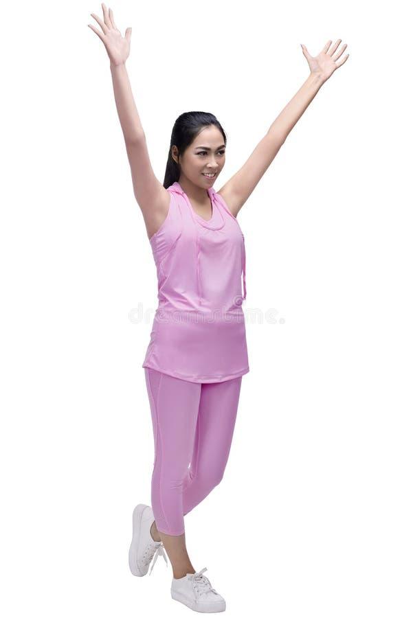 Portret azjatykcia biegacz kobieta z radosnym wyrażeniem zdjęcie royalty free