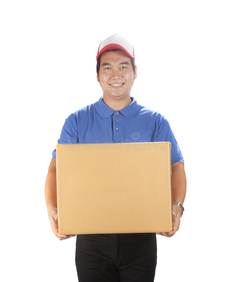 Portret azjatykciego doręczeniowego mężczyzna mienia zbiornika pudełka uśmiechnięty fac fotografia stock
