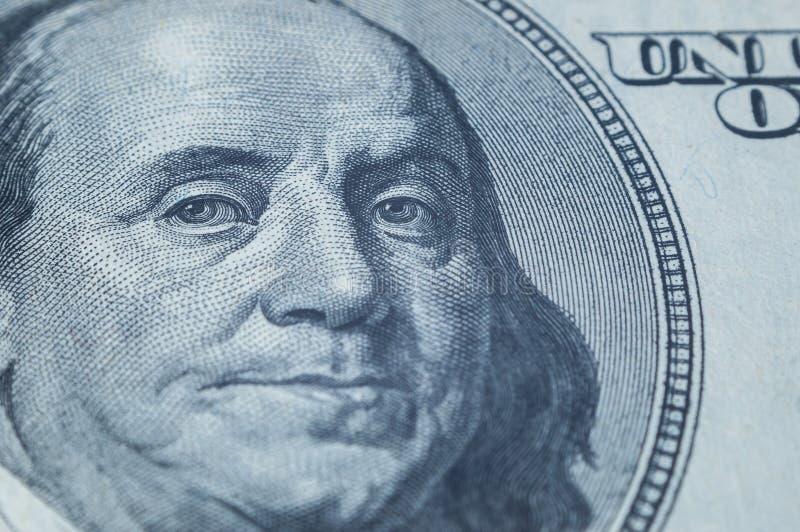 Portret Benjamin Franklin od 100 dolarów rachunków zdjęcia royalty free