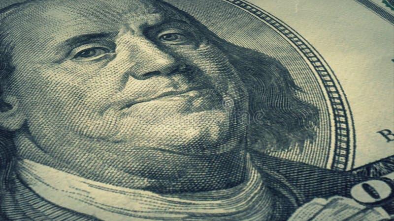 Portret Benjamin Franklin op het geld van de V.S. de stapel van het Honderd dollarsbankbiljet royalty-vrije stock foto