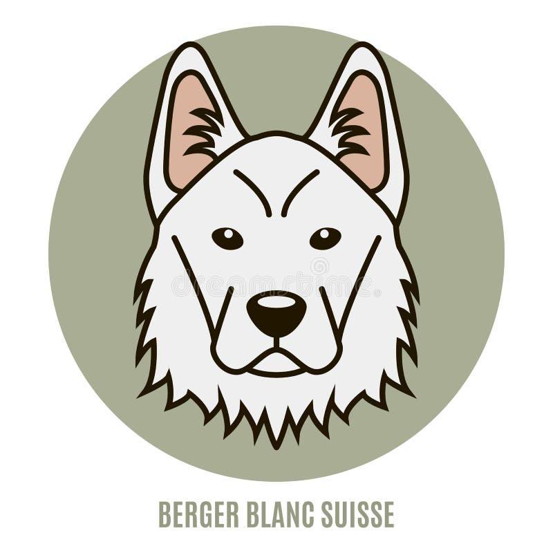 Portret Berger Blanc Suisse również zwrócić corel ilustracji wektora ilustracji