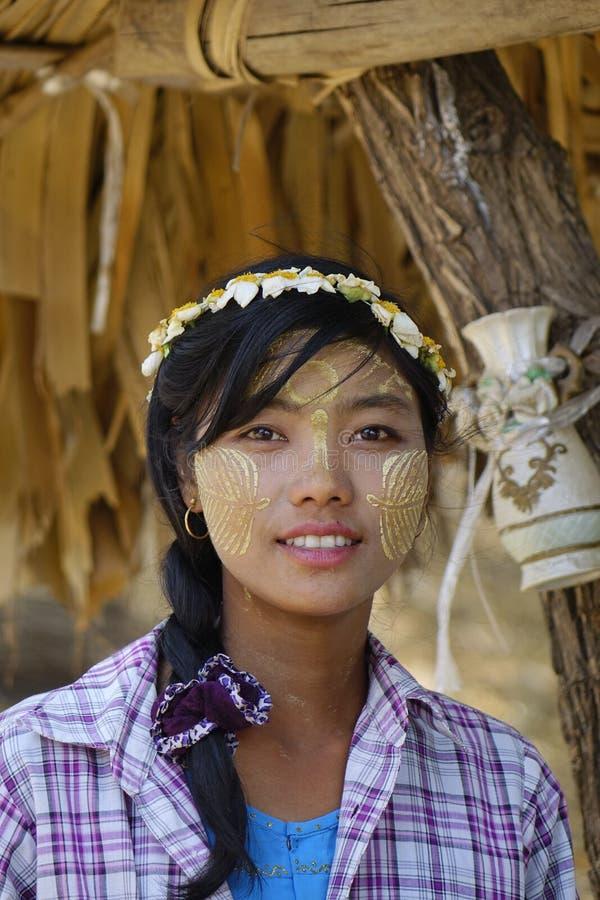 Portret Birmańska kobieta obraz stock