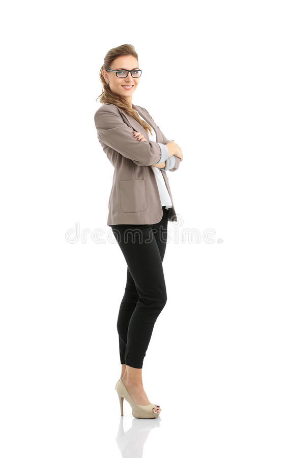 Portret bizneswoman odizolowywający na biały tle zdjęcie stock