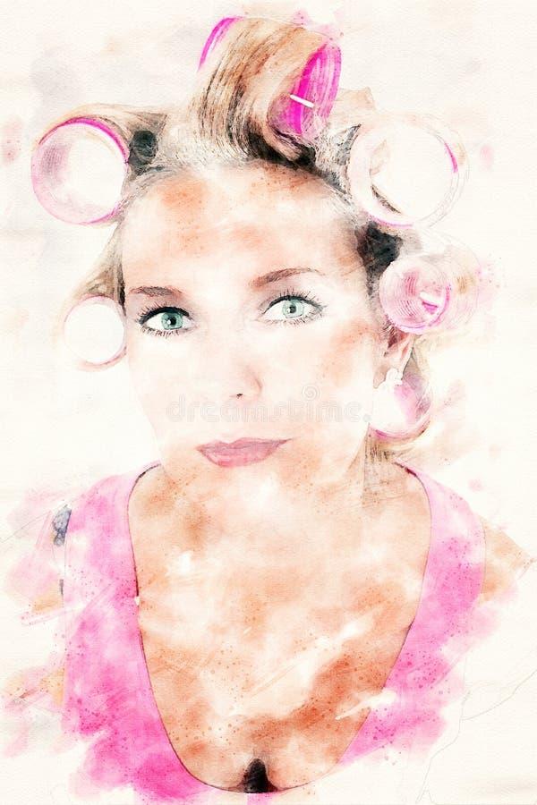 Portret blond kobieta z curlers ilustracji