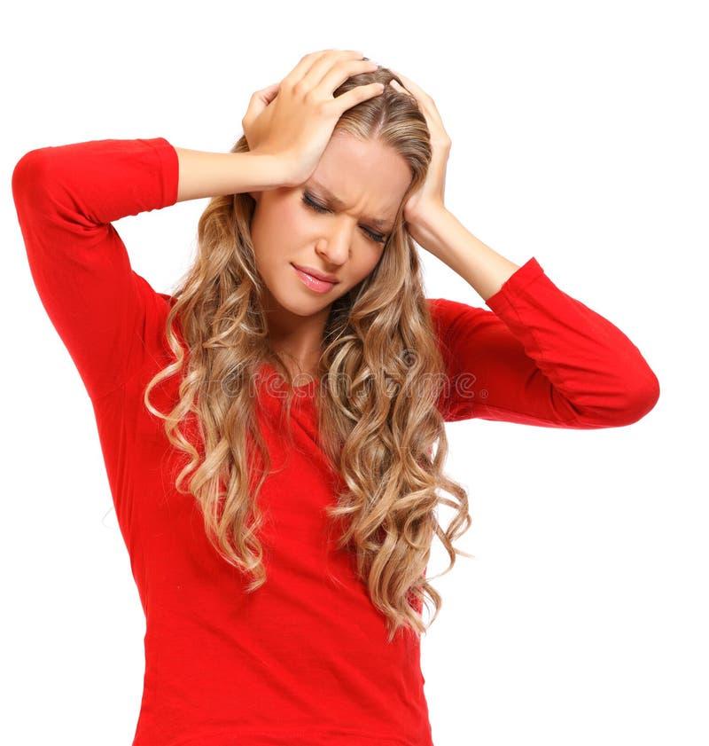 Portret blondynki kobieta z surową migreną obrazy stock