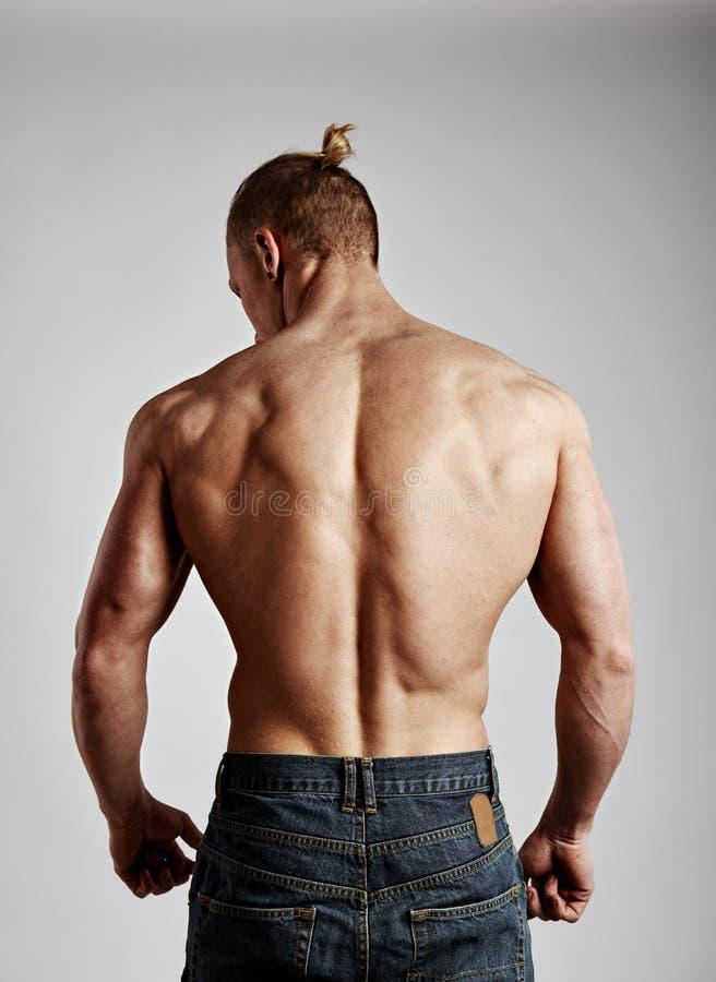 Portret bodybuilder z nagą półpostacią zdjęcie royalty free