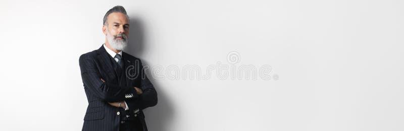 Portret brodaty atrakcyjny dżentelmen jest ubranym modnego kostium nad pustym białym tłem Odbitkowa pasta teksta przestrzeń szero fotografia royalty free
