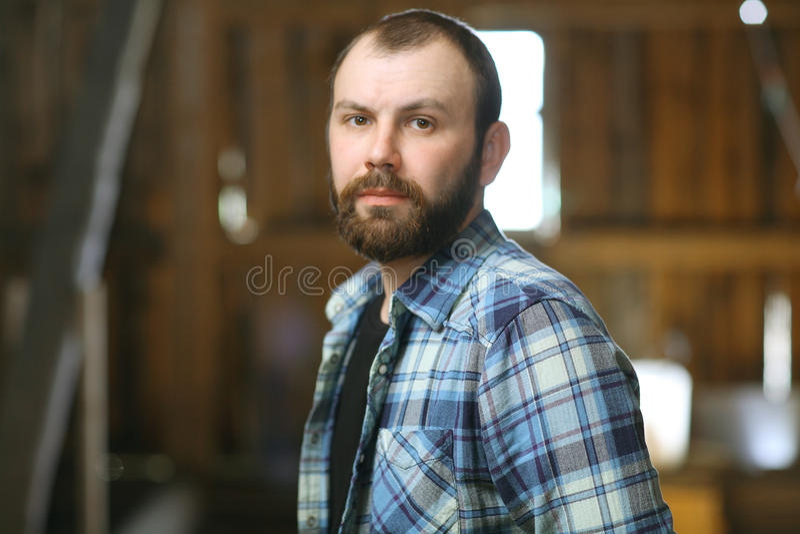 Portret brodaty mężczyzna w wieśniaka stylu obrazy royalty free