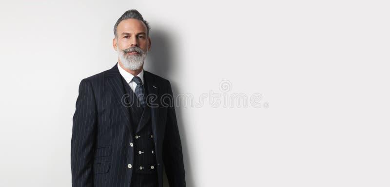 Portret brodaty przystojny biznesmen jest ubranym modnego kostium nad pustym białym tłem Odbitkowa pasta teksta przestrzeń szerok obrazy royalty free