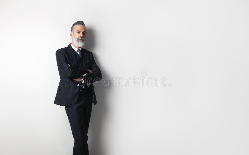 Portret brodaty ufny dżentelmen jest ubranym modnego kostium stoi nad pustym białym tłem Odbitkowa pasta teksta przestrzeń obrazy stock