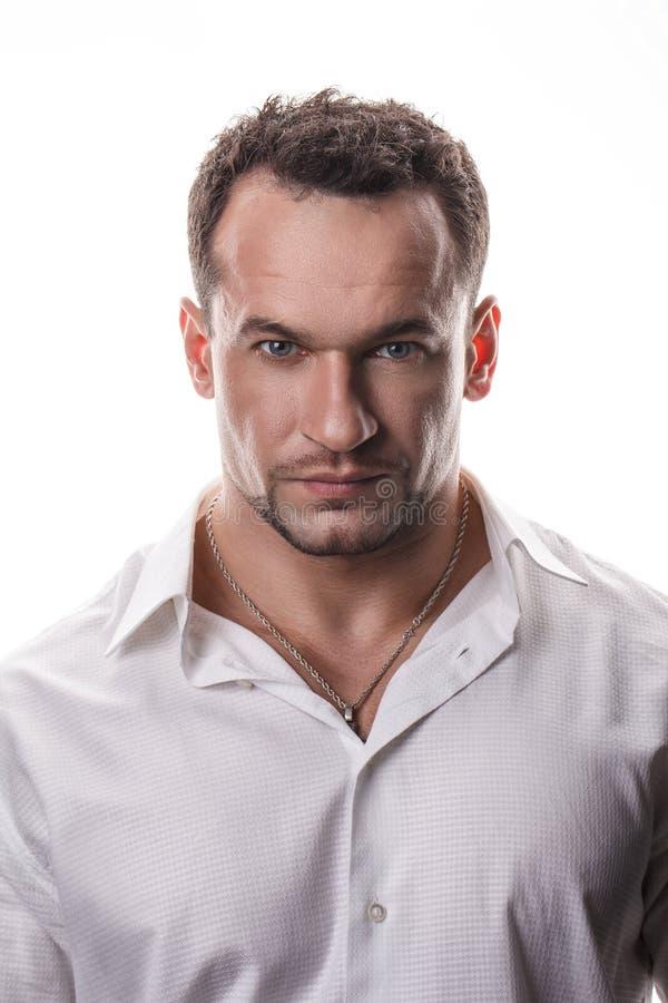 Portret brutalny mężczyzna z brodą zdjęcia royalty free