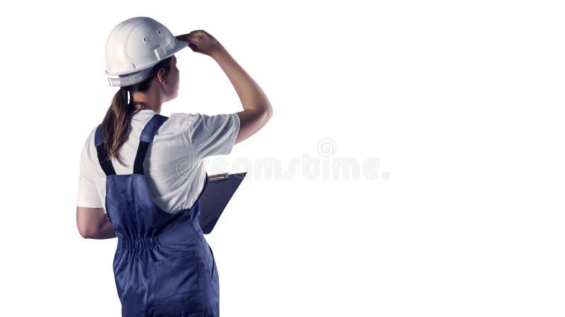 Portret budowniczy na białym odosobnieniu fotografia stock