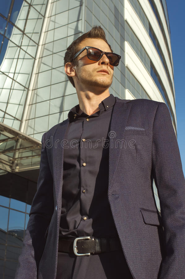 Portret of businessman with briefcase in hand stock photos