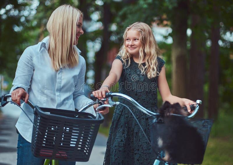 Portret córka z blondynka włosy na rowerowej przejażdżce z ich ślicznym małym spitz psem w parku i matka fotografia stock