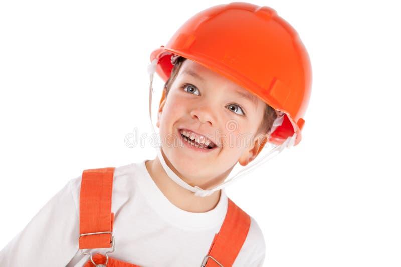 Download Portret Chłopiec W Pomarańczowym Hełmie, Izolacja Obraz Stock - Obraz złożonej z dziecko, jeden: 28970009