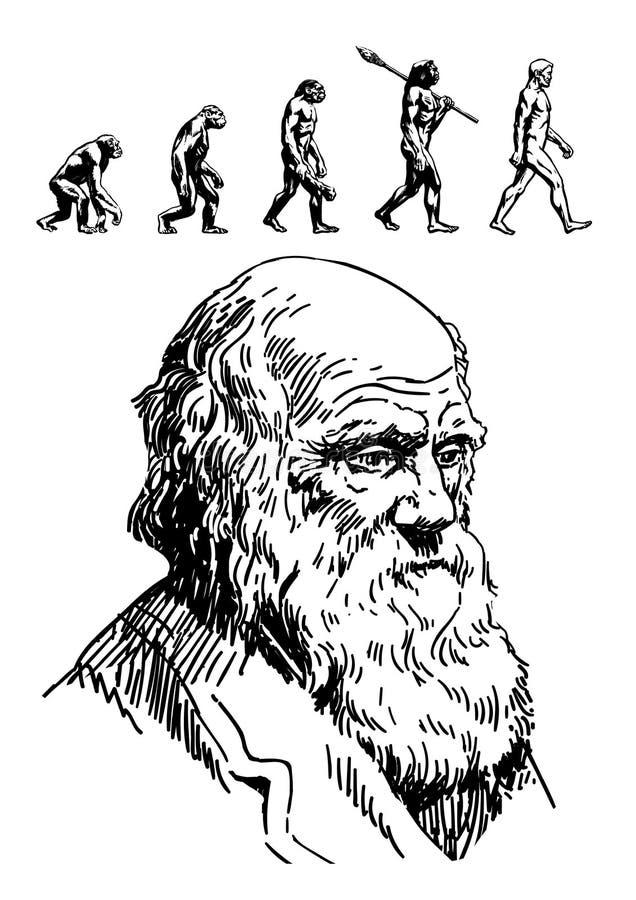 Portret Charles Darwin ilustracja wektor