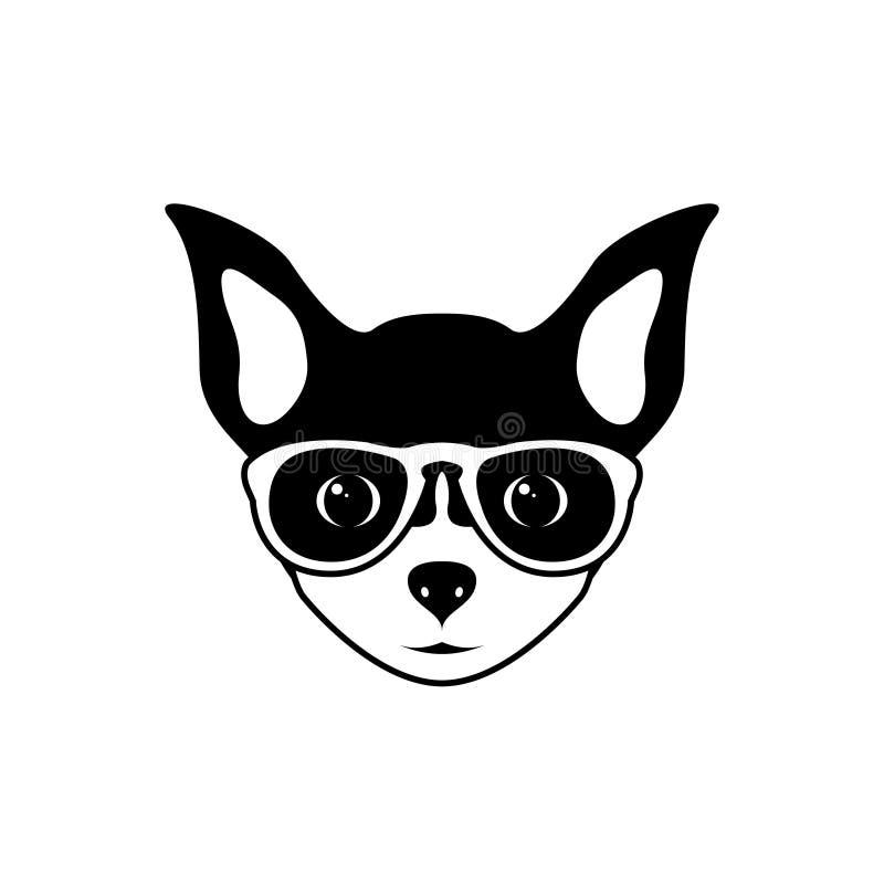 Portret chihuahua pies z szkłami, czarny i biały mieszkanie styl royalty ilustracja