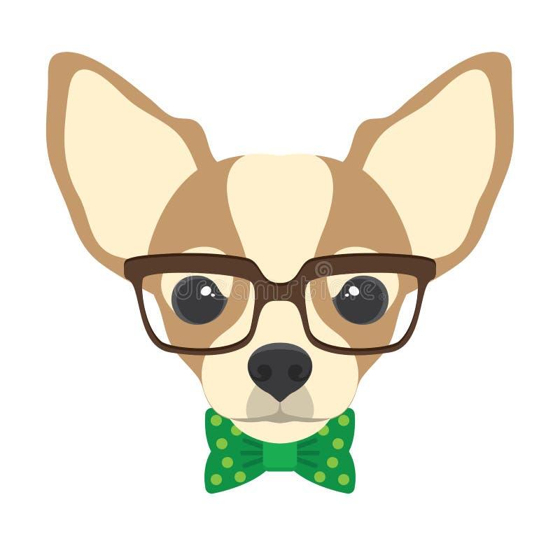 Portret chihuahua pies z szkłami i łęku krawatem w płaskim stylu ilustracji