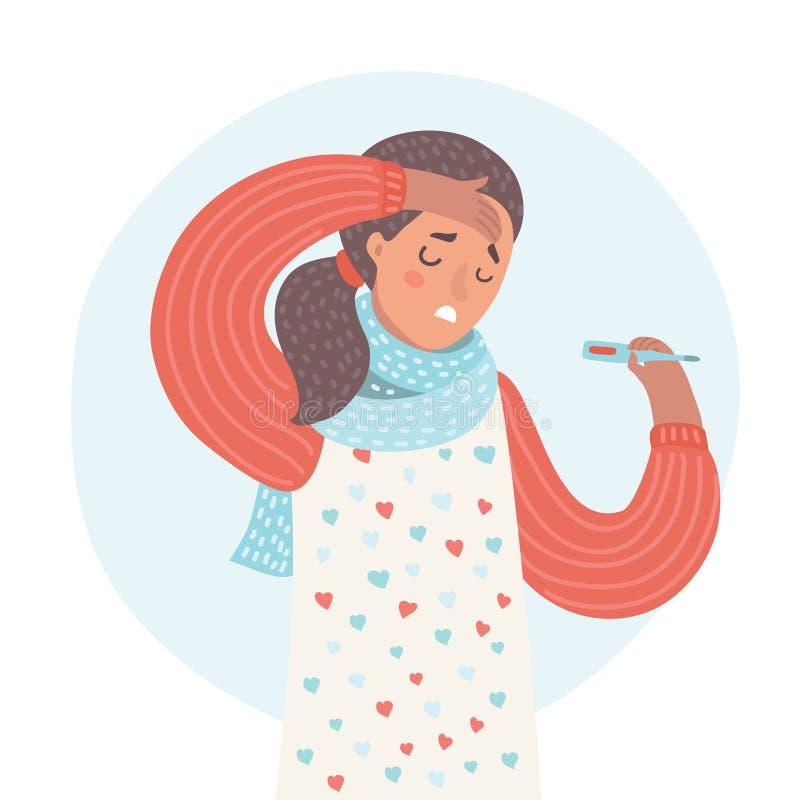 Portret Chorej kobiety Złapany zimno, Czuciowa choroba ilustracja wektor