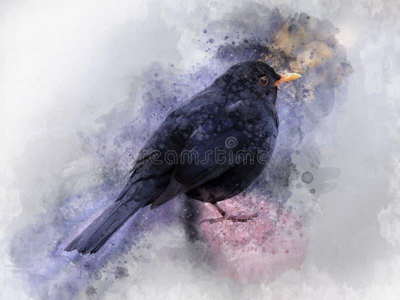 Portret Czarny ptak, akwarela obraz Ptasia ilustracja ilustracji