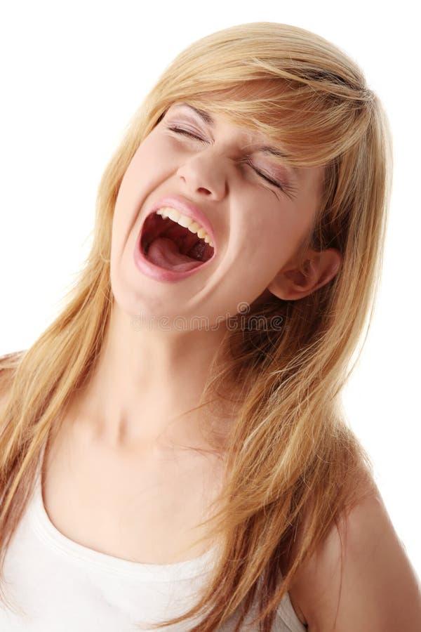 Portret da mulher gritando fotos de stock