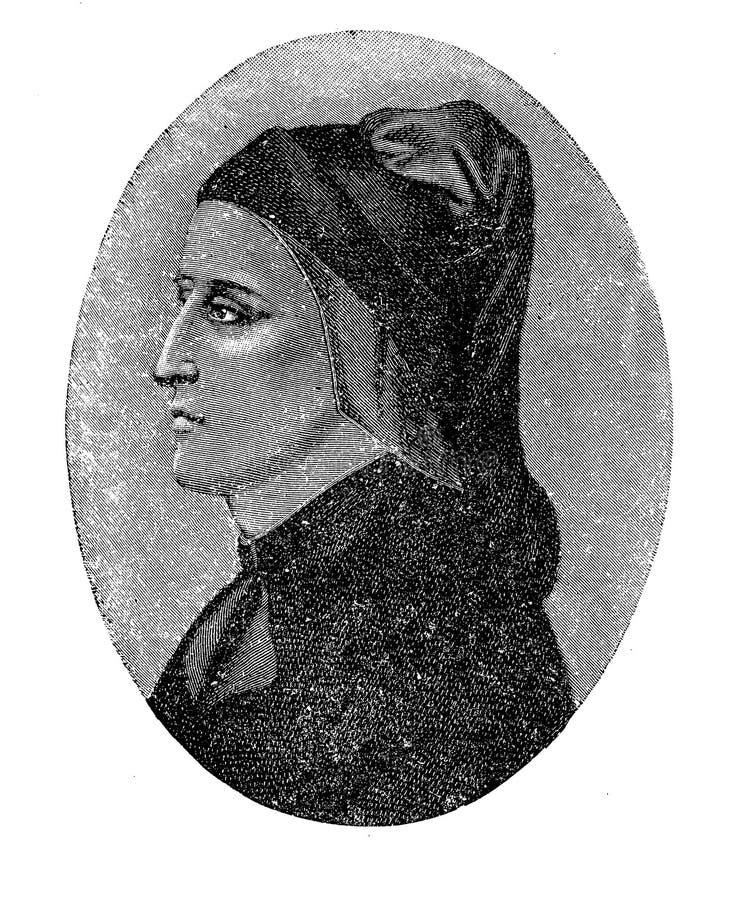 Portret Dante Alighieri ważna Włoska poeta ilustracja wektor