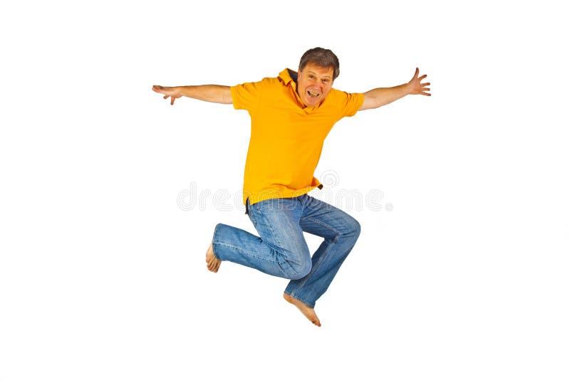 Portret dat van de mens in de Lucht springt stock foto's