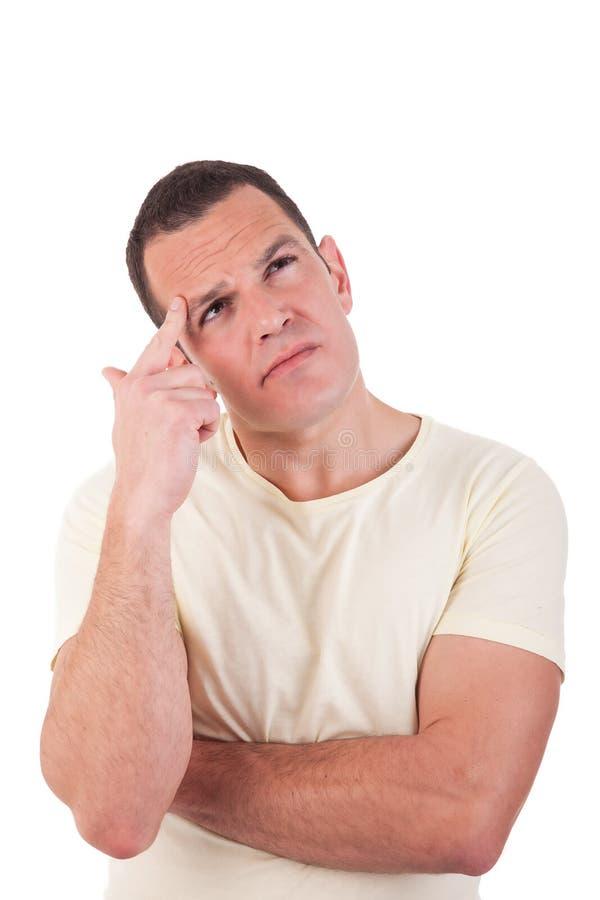 Portret dat van een knappe mens die, omhoog eruit ziet denkt stock afbeeldingen